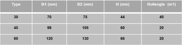 Schrumpf tabel VA-voegprofiel